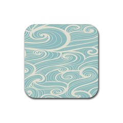 Blue Waves Rubber Square Coaster (4 Pack)