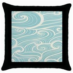 Blue Waves Throw Pillow Case (black)