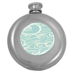 Blue Waves Round Hip Flask (5 oz)