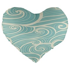 Blue Waves Large 19  Premium Flano Heart Shape Cushions