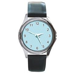 Circle Blue White Round Metal Watch