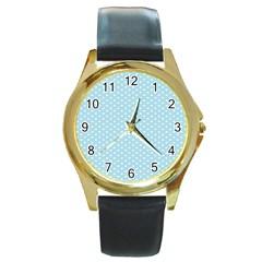 Circle Blue White Round Gold Metal Watch
