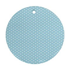 Circle Blue White Round Ornament (Two Sides)