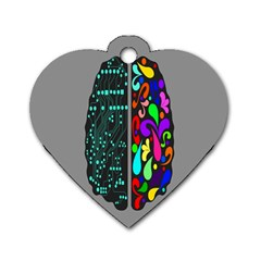 Emotional Rational Brain Dog Tag Heart (Two Sides)