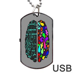 Emotional Rational Brain Dog Tag USB Flash (Two Sides)