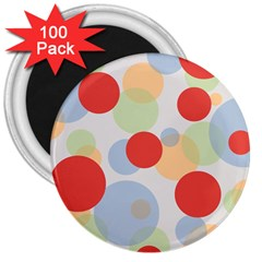 Contrast Analogous Colour Circle Red Green Orange 3  Magnets (100 Pack)