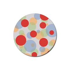 Contrast Analogous Colour Circle Red Green Orange Rubber Round Coaster (4 pack)