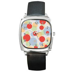 Contrast Analogous Colour Circle Red Green Orange Square Metal Watch