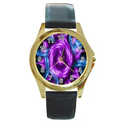 Colors Light Blue Purple Hole Space Galaxy Round Gold Metal Watch