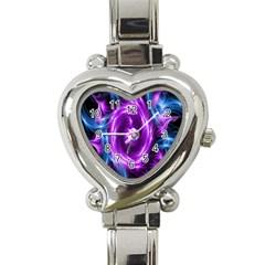 Colors Light Blue Purple Hole Space Galaxy Heart Italian Charm Watch