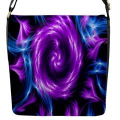 Colors Light Blue Purple Hole Space Galaxy Flap Messenger Bag (S)