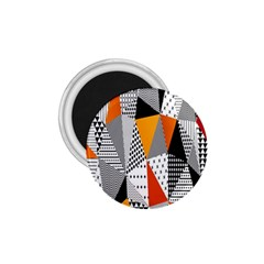 Contrast Hero Triangle Plaid Circle Wave Chevron Orange White Black Line 1.75  Magnets
