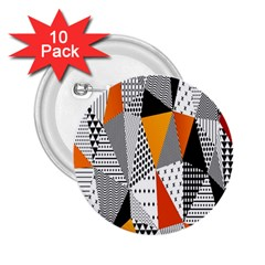 Contrast Hero Triangle Plaid Circle Wave Chevron Orange White Black Line 2.25  Buttons (10 pack)