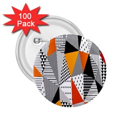 Contrast Hero Triangle Plaid Circle Wave Chevron Orange White Black Line 2.25  Buttons (100 pack)