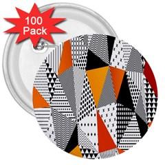 Contrast Hero Triangle Plaid Circle Wave Chevron Orange White Black Line 3  Buttons (100 pack)