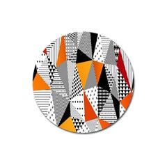 Contrast Hero Triangle Plaid Circle Wave Chevron Orange White Black Line Magnet 3  (round)