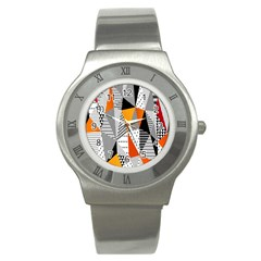 Contrast Hero Triangle Plaid Circle Wave Chevron Orange White Black Line Stainless Steel Watch