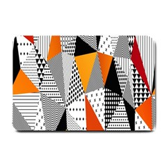 Contrast Hero Triangle Plaid Circle Wave Chevron Orange White Black Line Small Doormat
