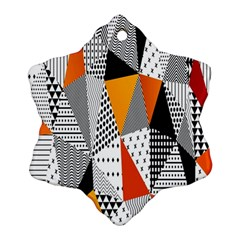Contrast Hero Triangle Plaid Circle Wave Chevron Orange White Black Line Snowflake Ornament (Two Sides)