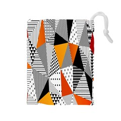 Contrast Hero Triangle Plaid Circle Wave Chevron Orange White Black Line Drawstring Pouches (Large)
