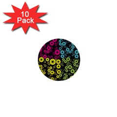 Circle Ring Color Purple Pink Yellow Blue 1  Mini Buttons (10 Pack)