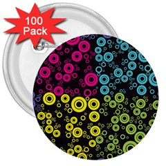 Circle Ring Color Purple Pink Yellow Blue 3  Buttons (100 pack)