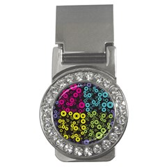 Circle Ring Color Purple Pink Yellow Blue Money Clips (CZ)