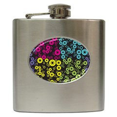 Circle Ring Color Purple Pink Yellow Blue Hip Flask (6 oz)