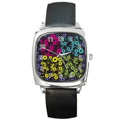 Circle Ring Color Purple Pink Yellow Blue Square Metal Watch