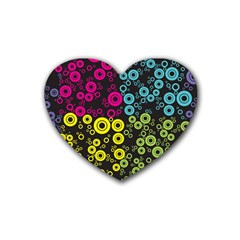 Circle Ring Color Purple Pink Yellow Blue Heart Coaster (4 pack)