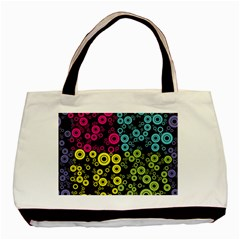 Circle Ring Color Purple Pink Yellow Blue Basic Tote Bag (Two Sides)