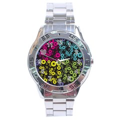 Circle Ring Color Purple Pink Yellow Blue Stainless Steel Analogue Watch