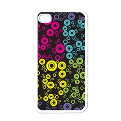 Circle Ring Color Purple Pink Yellow Blue Apple iPhone 4 Case (White)