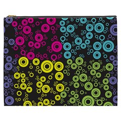 Circle Ring Color Purple Pink Yellow Blue Cosmetic Bag (XXXL)