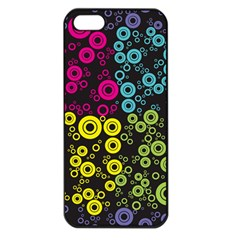 Circle Ring Color Purple Pink Yellow Blue Apple Iphone 5 Seamless Case (black)