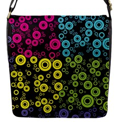 Circle Ring Color Purple Pink Yellow Blue Flap Messenger Bag (S)