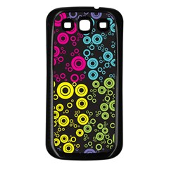 Circle Ring Color Purple Pink Yellow Blue Samsung Galaxy S3 Back Case (Black)