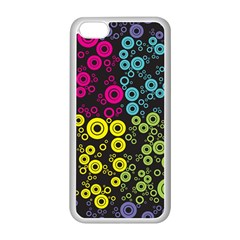 Circle Ring Color Purple Pink Yellow Blue Apple iPhone 5C Seamless Case (White)