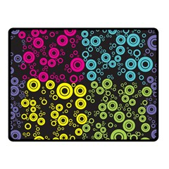 Circle Ring Color Purple Pink Yellow Blue Double Sided Fleece Blanket (Small)