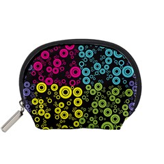 Circle Ring Color Purple Pink Yellow Blue Accessory Pouches (Small)