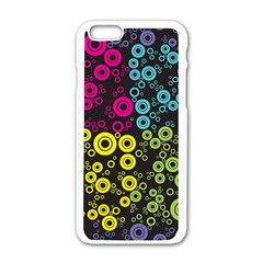 Circle Ring Color Purple Pink Yellow Blue Apple iPhone 6/6S White Enamel Case