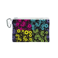 Circle Ring Color Purple Pink Yellow Blue Canvas Cosmetic Bag (S)