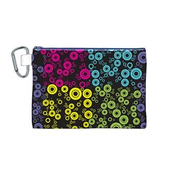 Circle Ring Color Purple Pink Yellow Blue Canvas Cosmetic Bag (M)