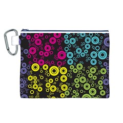 Circle Ring Color Purple Pink Yellow Blue Canvas Cosmetic Bag (L)