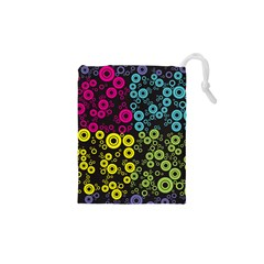 Circle Ring Color Purple Pink Yellow Blue Drawstring Pouches (XS)