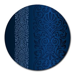 Fabric Blue Batik Round Mousepads