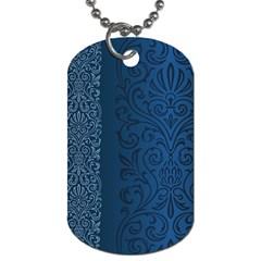 Fabric Blue Batik Dog Tag (One Side)