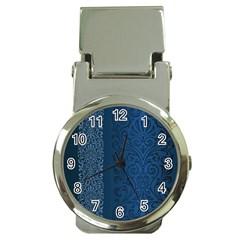Fabric Blue Batik Money Clip Watches