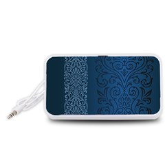 Fabric Blue Batik Portable Speaker (White)
