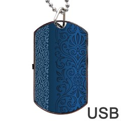 Fabric Blue Batik Dog Tag USB Flash (One Side)